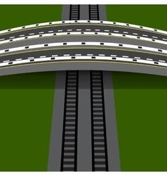 Car overpass crossing the railway an arch bridge vector
