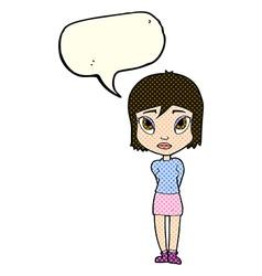 Cartoon shy girl with speech bubble vector