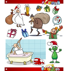 christmas themes cartoon set vector image vector image
