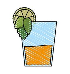 Color crayon stripe image cartoon glass cup of vector