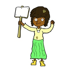 comic cartoon hippie girl with protest sign vector image