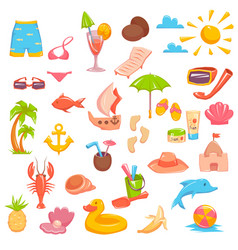 Elements for seaside vacation vector