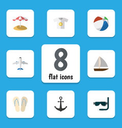 Flat icon beach set of ship hook clothes beach vector
