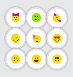 flat icon expression set of frown smile party vector image vector image