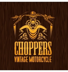 Gold vintage bikers badge on the wooden texture vector image vector image