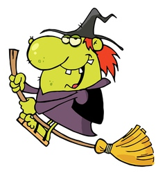Green Witch Swooping By On Her Broom vector image