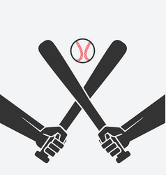 hands with baseball bats and ball vector image