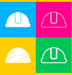 Hardhat sign four styles of icon on four color vector