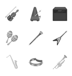 Musical instruments set icons in monochrome style vector