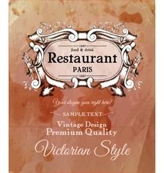 Old vintage victorian label for menu of vector