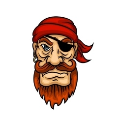 Portrait of cartoon redhead pirate sailor vector image vector image