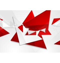 Red grey abstract technology low poly design vector