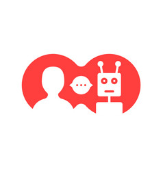 Red simple chatbot hotline logo vector