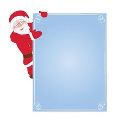 Santa Claus hanging on card vector image vector image