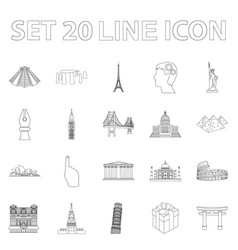 Sights of different countries outline icons in set vector