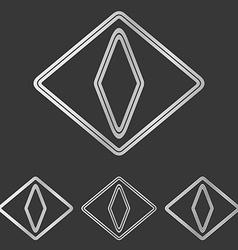 Silver cat eye logo design set vector