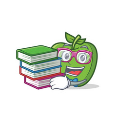 Student with book green apple character cartoon vector