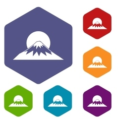 Sun and mountain icons set vector image vector image