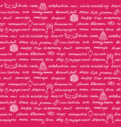 Wedding lettering seamless pattern vector