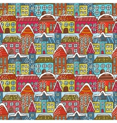 Winter houses seamless pattern vector