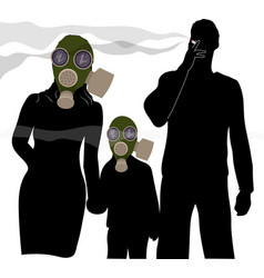 Woman and child in a gas mask to protect from vector