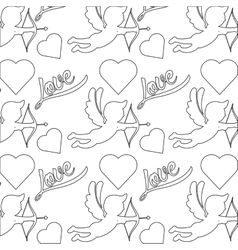 cupid silhouette pattern icon vector image