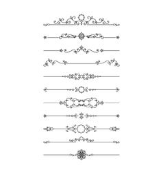 Vintage filigree dividers set isolated on white vector