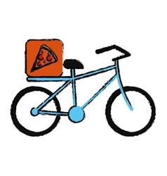 Blue pizza food delivery bicycle drawing vector