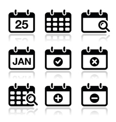 Calendar date icons set vector
