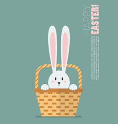 hand holding wicker basket with bunny ears vector image