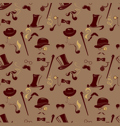 seamless pattern in retro style men silhouettes vector image