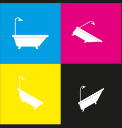 bathtub sign  white icon with isometric vector image