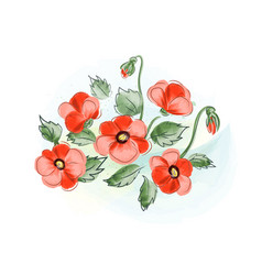 Beautiful gift card with red watercolor poppies vector