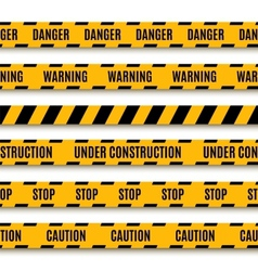 Set of yellow warning tapes vector