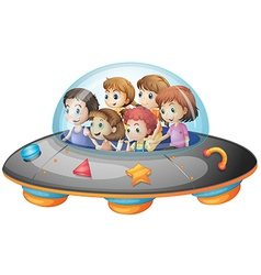 Children in spaceship vector image