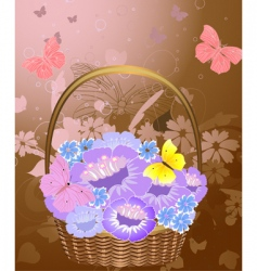 flowers basket vector image