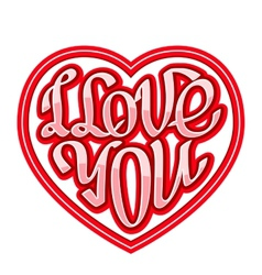 Short phrase i love you inscribed in a heart shape vector