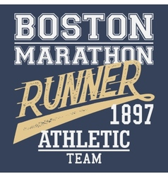 Boston marathon runner t-shirt vector