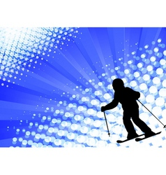 Child skiing on the abstract background vector