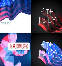 Stylish set of 4th july american independence day vector