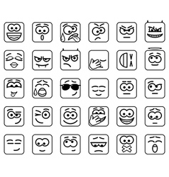 Set square smileys with rounded corners vector