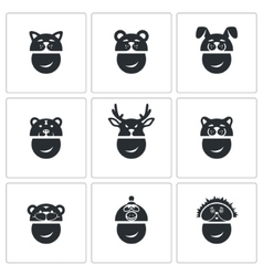 New years mask icons set vector