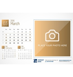Desk calendar 2016 print template march week vector