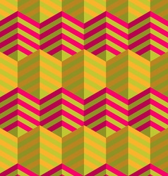 Retro fold striped hexagons touching vector
