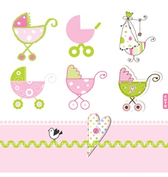 Baby buggy design elements vector image
