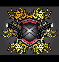 Punk tattoo fire flames glock pistols design vector