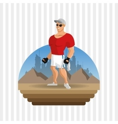 Healthy lifestyle fitness concept bodybuilding vector