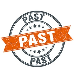 Past round orange grungy vintage isolated stamp vector