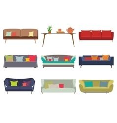 Big Sofas Set Furniture for Your Interior Design vector image
