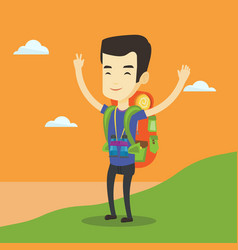 backpacker with his hands up enjoying the scenery vector image vector image
